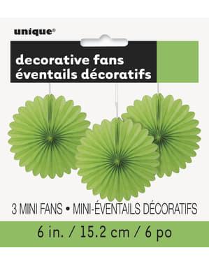 3 koristeellista paperiviuhkaa limenvihreänä - Perusvärilinja