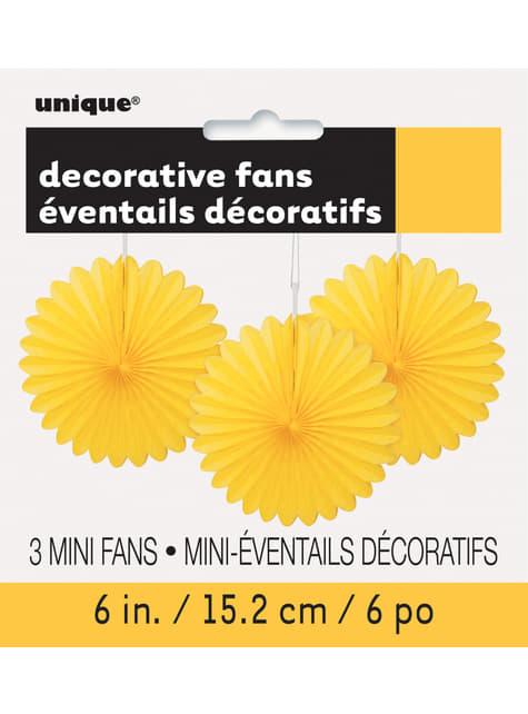Conjunto de 3 Leques de papel decorativos amarelo - Linha Cores Básicas