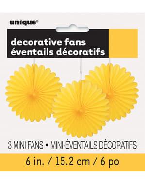 3 Abanicos de papel decorativos amarillos (15,2 cm) - Línea Colores Básicos
