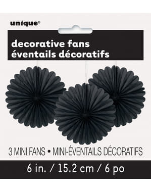 3 Abanicos de papel decorativos negros (15,2 cm) - Línea Colores Básicos