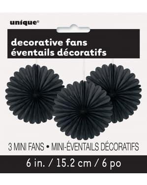 3 Leques de papel decorativos pret (15,2 cm) - Linha Cores Básicas