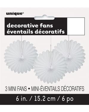 3 Abanicos de papel decorativos blancos (15,2 cm) - Línea Colores Básicos