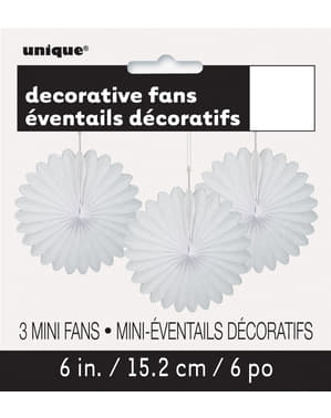 3 decorative paper fans in whit (15,2 cm) - Basic Colours Line