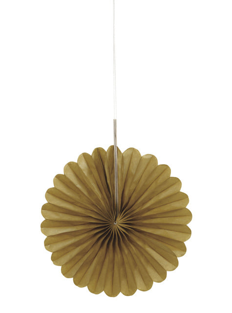 3 Abanicos de papel decorativos dorados (15,2 cm) - Línea Colores Básicos