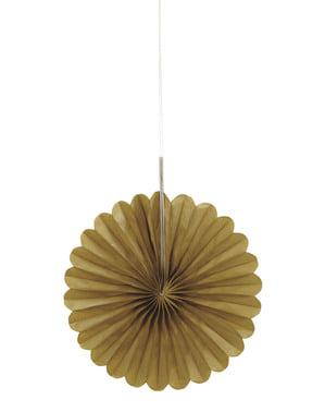 3 złote papierowe wachlarze dekoracyjne - Linia kolorów podstawowych