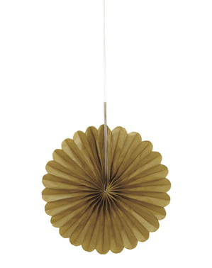 3 decorative paper fans in gol (15,2 cm) - Basic Colours Line