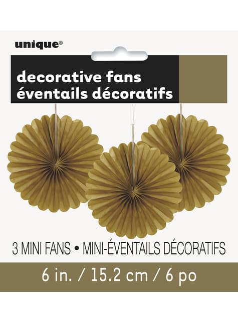 3 Abanicos de papel decorativos dorados (15,2 cm) - Línea Colores Básicos - para tus fiestas
