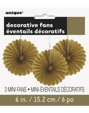 3 Leques de papel decorativos dourad (15,2 cm) - Linha Cores Básicas