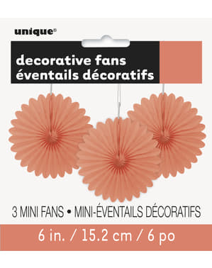 3 Abanicos de papel decorativos coral (15,2 cm) - Línea Colores Básicos