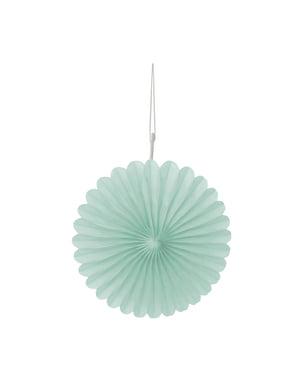 3 Abanicos de papel decorativos verde menta (15,2 cm) - Línea Colores Básicos