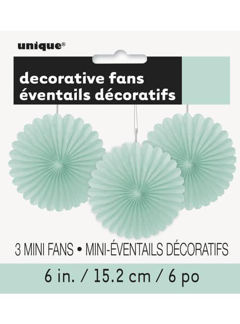 3 Abanicos de papel decorativos verde menta (15,2 cm) - Línea Colores Básicos - para tus fiestas