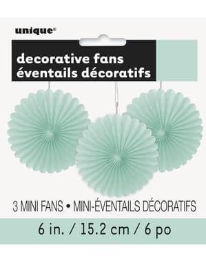 3 geassorteerde decoratieve papieren waaiers in het muntgroe (15,2 cm) - Basic Colours Line