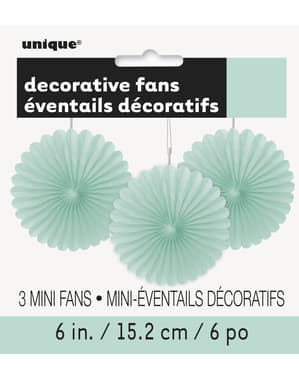 3 decorative paper fans in mint gree (15,2 cm) - Basic Colours Line