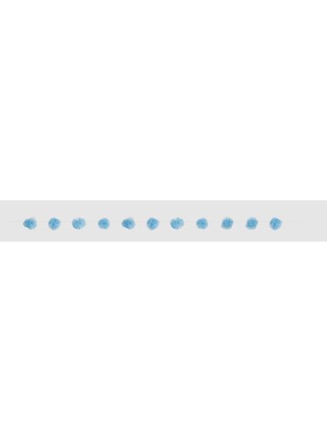 Blauwe pompon slinger - Basis Kleuren Lijn