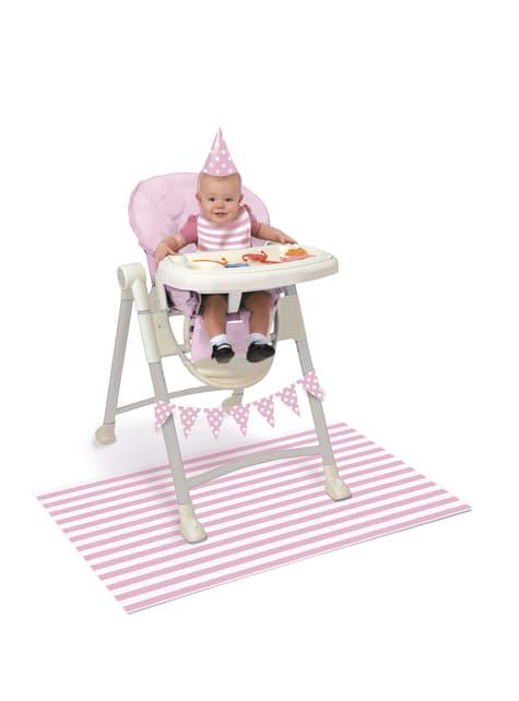 set di 1° compleanno rosa e bianco