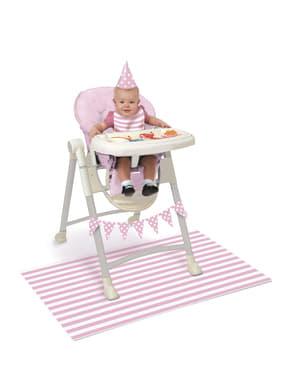 Set de 1º cumpleaños rosa y blanco