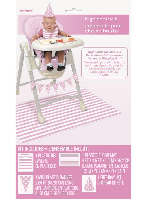 Set de 1º cumpleaños rosa y blanco - original