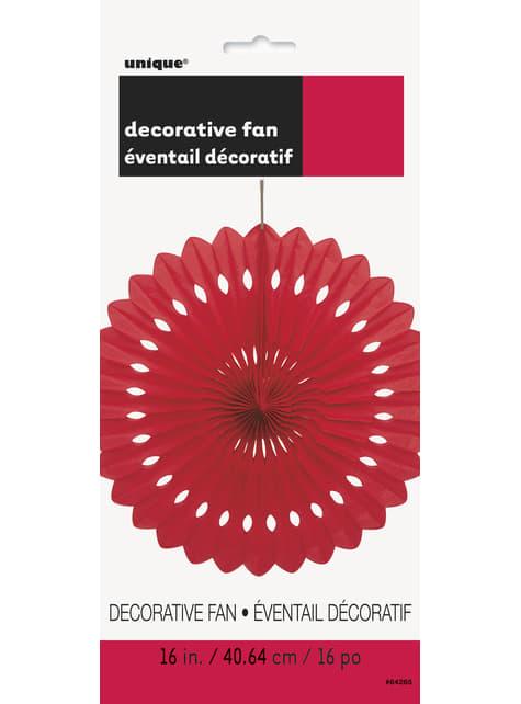Abanico de papel decorativo color rojo - Línea Colores Básicos - para tus fiestas