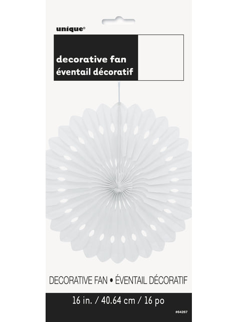 Abanico de papel decorativo color blanco - Línea Colores Básicos