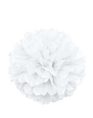 Biały dekoracyjny pompon – Linia kolorów podstawowych