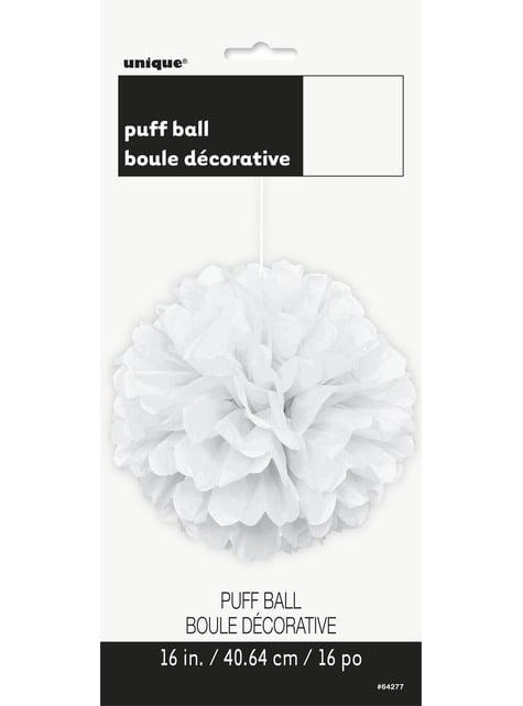 Pompón decorativo color blanco - Línea Colores Básicos - para tus fiestas