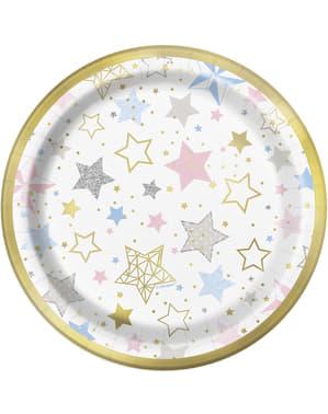 Sett med 8 dessert tallerkener - Twinkle Little Star