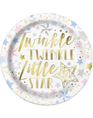 Sæt af 8 tallerkner - Twinkle Little Star