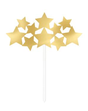 Dekoracja tortu - złote gwiazdki