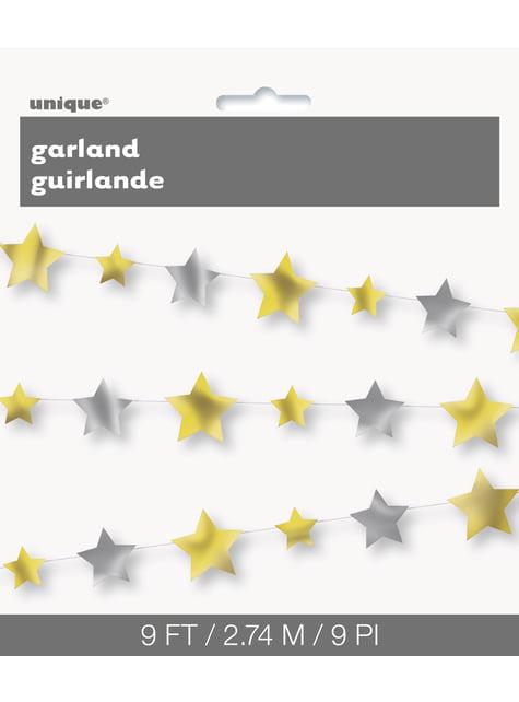 Guirnalda de estrellas doradas y plateadas