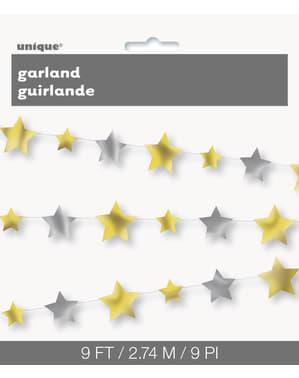 Гирлянда със сребристи и златни звезди
