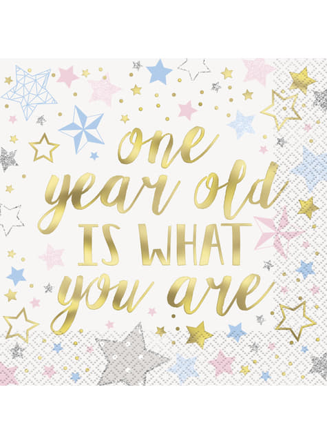 16 grandes serviettes 1 Year old is what you are - Twinkle Little Star