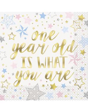 Set 16 stora servetter 1 års kalas - Twinkle Little Star