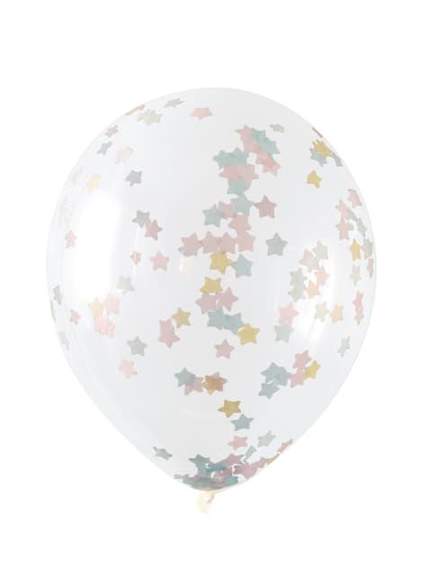 Conjunto de 5 balões transparentes com confete de estrela cor-de-rosa, azuis e dourados