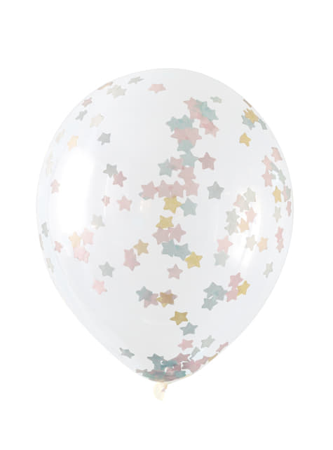 5 transparent balloons with pink, blue and gold star confetti (30 cm)
