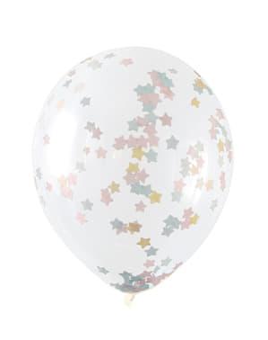 5 ballons transparents avec confettis en étoiles roses, bleues et dorées