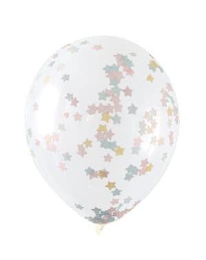 Set of 5 transparent balloons with pink, blue and gold star confetti
