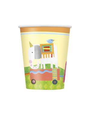 סט 8 כוסות - קרקס חיות