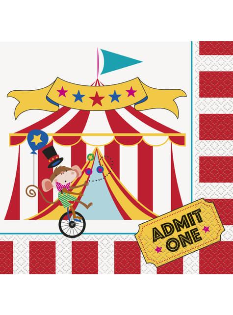 16 grandes Serviettes en papier (33x33 cm) - Circus Carnival