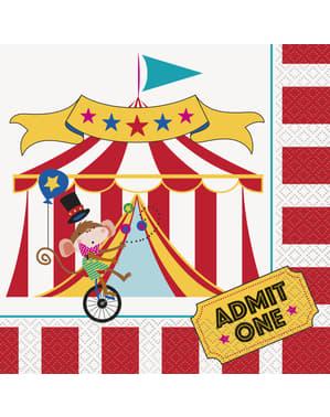 Sett med 16 store servietter - Sirkus Karneval