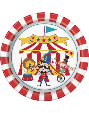8 pratos de sobremes (18 cm) - Circus Carnival