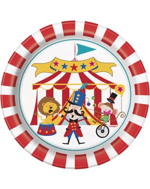 Sett med 8 dessert tallerken - Sirkus Karneval