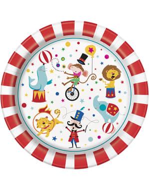 Sett med 8 tallerken - Sirkus Karneval