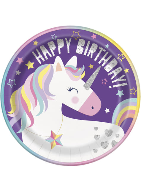 8 platos de unicornio (23cm)- Happy Unicorn
