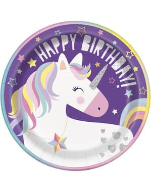 8 piatti Happy Birthday Unicorn (23cm) - Happy Unicorn