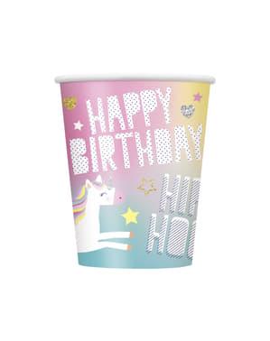 8 db nagy Happy Unicorn pohár - Unicorn