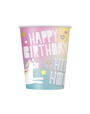 8 big Happy Unicorn cups - Unicorn