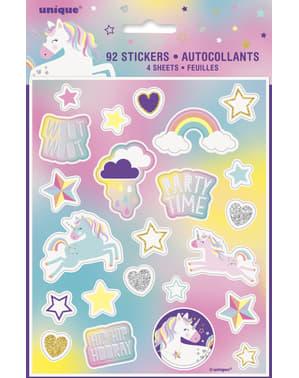 4 Blije Eenhoorn stickers - Unicorn
