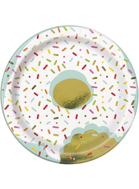 Set of 8 dessert plates - Donut Party