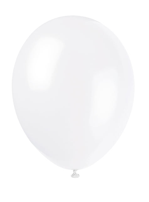 10 globos color blanco (30 cm) - Línea Colores Básicos