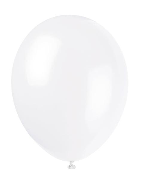 Zestaw 10 białych balonów - Linia kolorów podstawowych